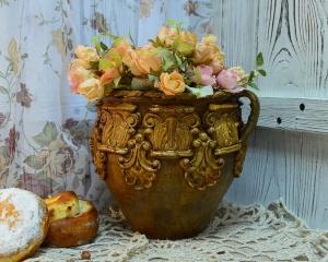 Реставрация старых изделий из глины. Горшок «Милый Августин»