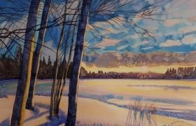 Закатный зимний пейзаж