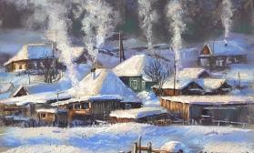Пейзаж с деревенскими домиками